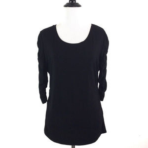 Vince Camuto Ruched 3/4 Sleeve Top Black Medium